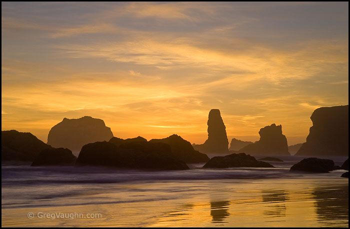 sea stacks and sunset sky at Bandon Beach