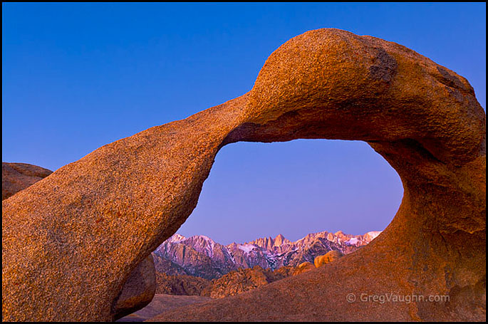 Mobius Arch and the eastern Sierra Nevada Mountains at dawn