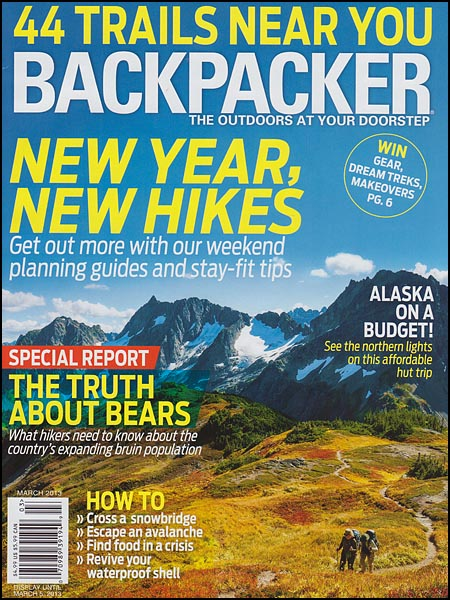 Backpacker Magazine cover, March 2013 issue.